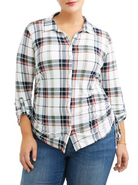 6effa9a9ab21c Product Image Plus Size Knit Plaid Cinched Shirt