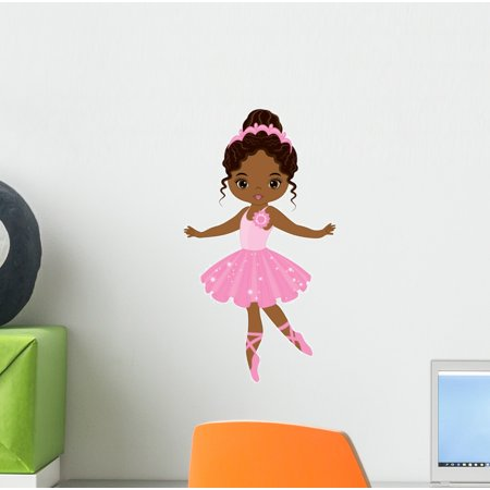 African American Ballerina Dancing Wall Decal Wallmonkeys Peel and Stick Decals for Girls (12 in H x 12 in W) - Ballerina Wall