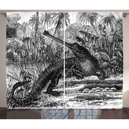 - Vintage Curtains 2 Panels Set, Old Fashion Sketch of A Crocodile in Forest Wildlife Nature Woods Fossil Picture, Window Drapes for Living Room Bedroom, 108W X 96L Inches, Charcoal Grey, by Ambesonne