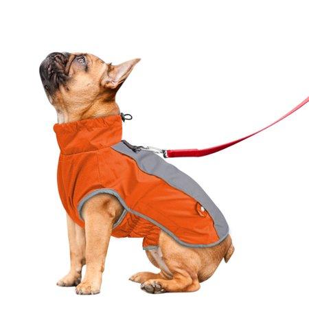 Reflective Fleece Warm Pet Dog Coat Winter Jacket Clothes Sweater Waterproof Orange Warm Dog Clothes