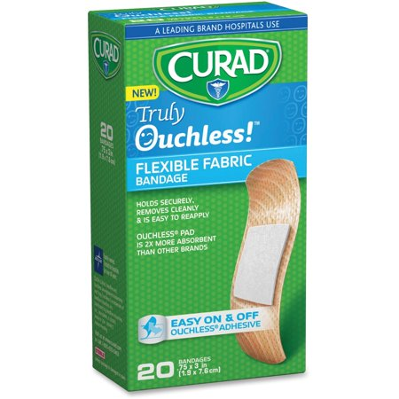 Curad Truly Ouchless Flexible Fabric Bandage, .75 x 3 inch (1.9 x 7.6