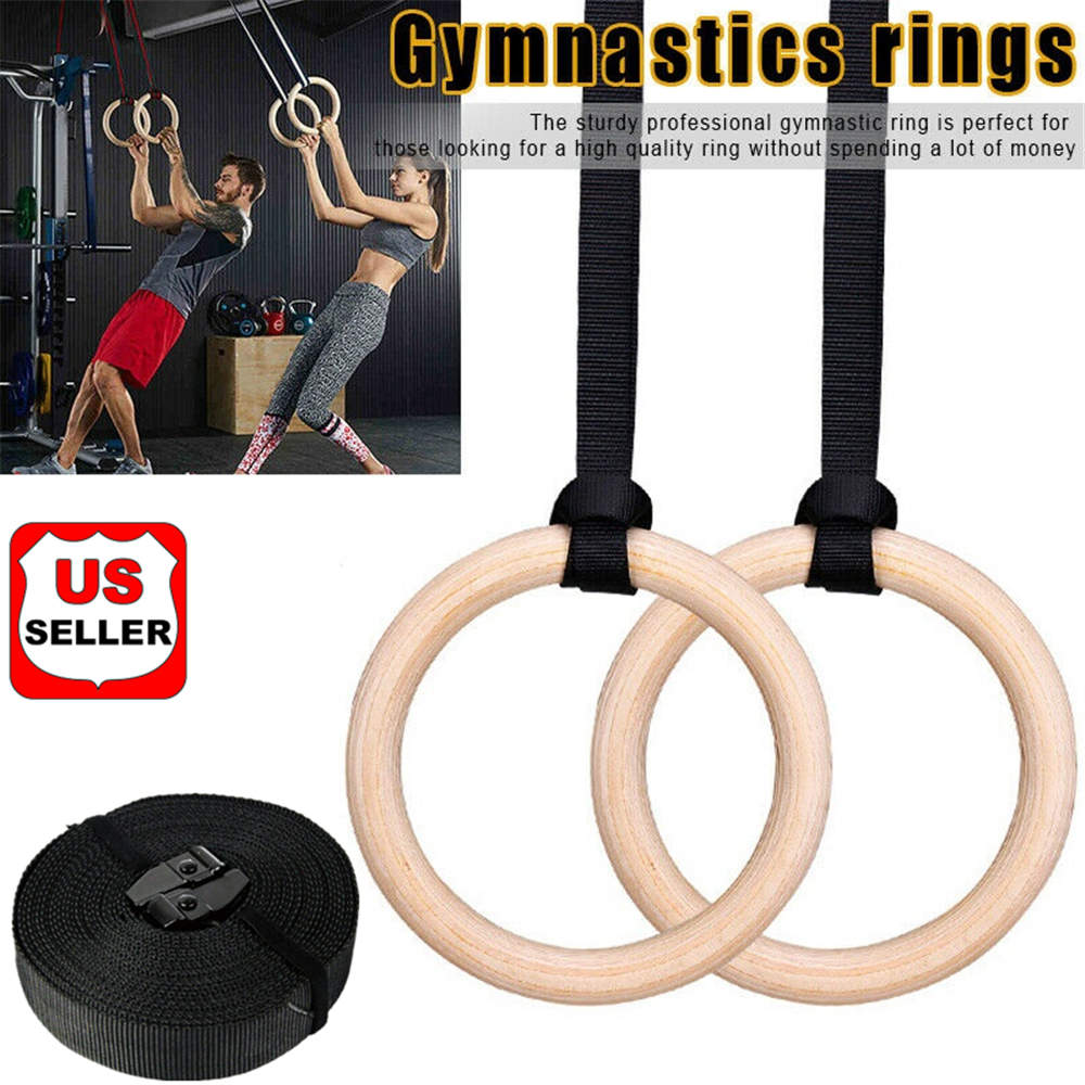 Wood Gymnastic Olympic Gym Rings with Adjustable Straps Strength Training