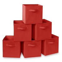 """Casafield Set of 6 Collapsible Fabric Cube Storage Bins - 11"""" Foldable Cloth Baskets for Shelves, Cubby Organizers & More"""
