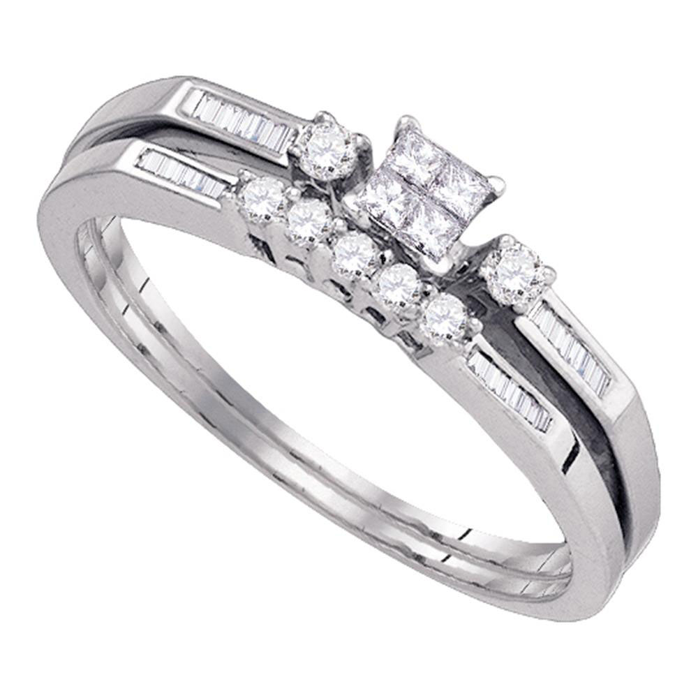 10k White Gold Womens Princess Diamond Slender Wedding Bridal Engagement Ring Band Set 1/3 Cttw