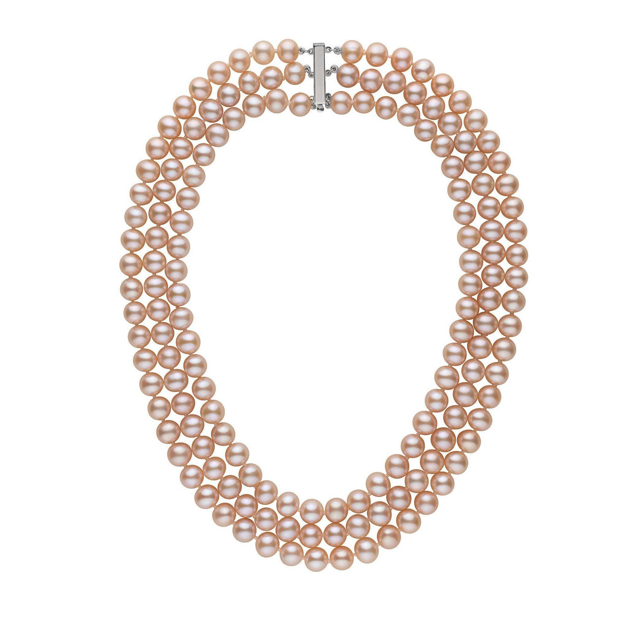 Triple Strand 8.5-9.0 mm AAA Pink to Peach Freshwater Cultured Pearl Necklace by Pearl Paradise