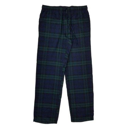 Mens Blue/Green Plaid Brushed Flannel Sleep Lounge Pants Pajama Bottoms Small