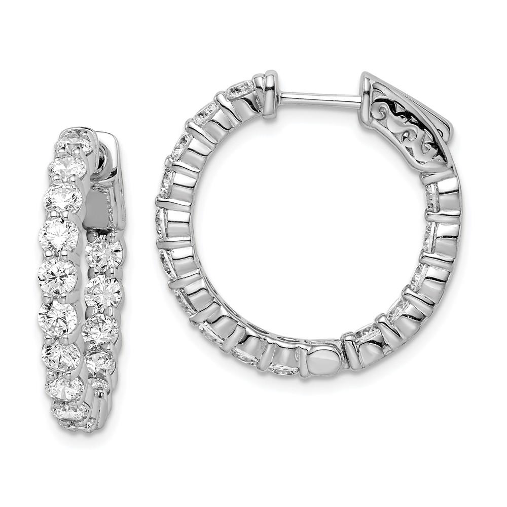 925 Sterling Silver Rhodium-plated Diamond Hinged Hoop Earrings