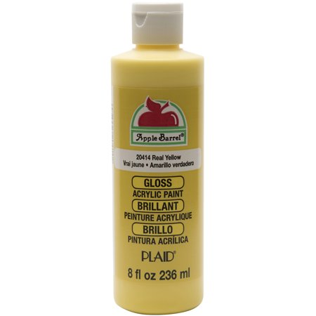 Apple Barrel Gloss Finish Acrylic Craft Paint by Plaid, Real Yellow, 8 oz. - Yellow Represents