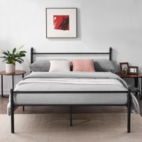 Metal Slat Platform Queen Bed Frame /Bed, Box Spring Replacement with Headboard