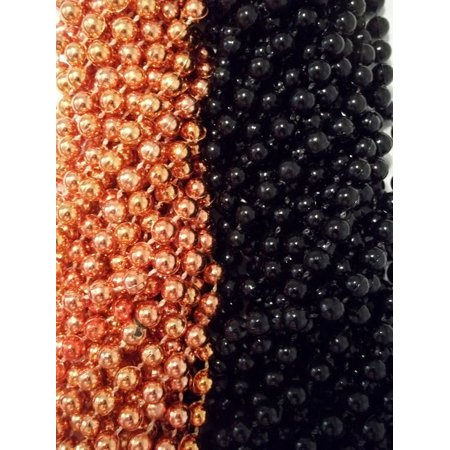48 Orange Black Round Mardi Gras Beads Party Favors Halloween Necklaces 4 Dozen - Bearded Halloween Ideas