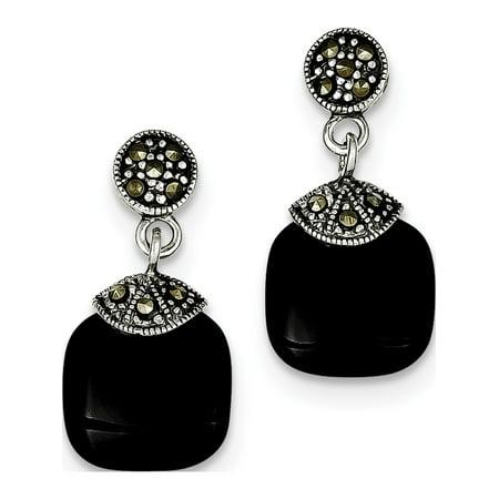Sterling Silver Marcasite Ribbon - Leslies Fine Designer Sterling Silver Sterling Silver Onyx & Marcasite Earrings (Length=26) (Width=12)