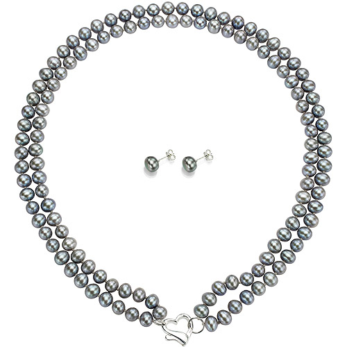 """Double Row 7-8mm Grey Freshwater Pearl Heart-Shape Sterling Silver Clasp Necklace (18"""") with Bonus Pearl Stud... by Jacqueline's Collection"""