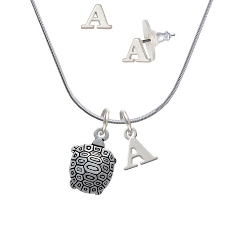 Tortoise - A Initial Charm Necklace and Stud Earrings Jewelry Set