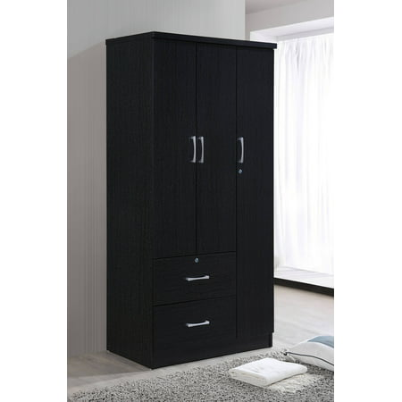 Wide Armoire With 2 Drawers Clothing Rod And 3 Shelves In Black
