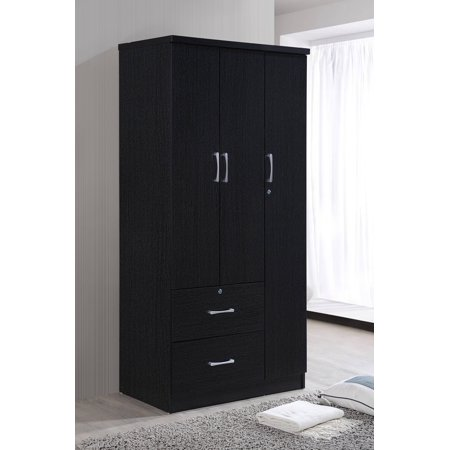 Boutique Armoire - Hodedah 3-Door 36 in. Wide Armoire with 2-Drawers, Clothing Rod and 3-Shelves in Black