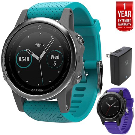 Garmin Fenix 5S Multisport 42mm GPS Watch - Silver with Turquoise Band (010-01685-01) + Silicon Wrist Band for Garmin Fenix 5 + 1 Year Extended