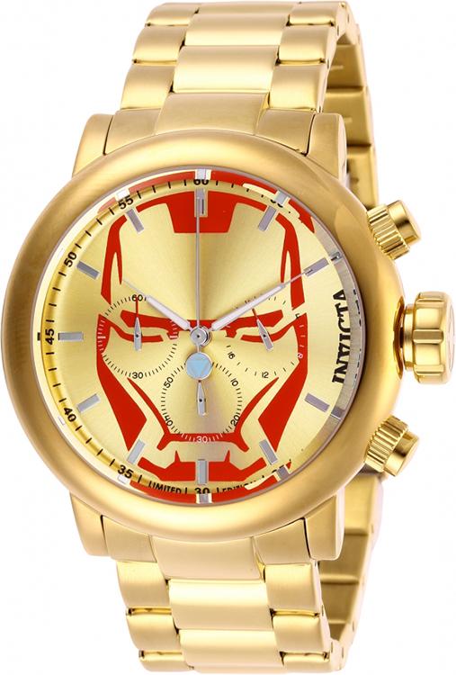 Invicta Men's 28146 Marvel Quartz Chronograph Red, Gold Dial Watch