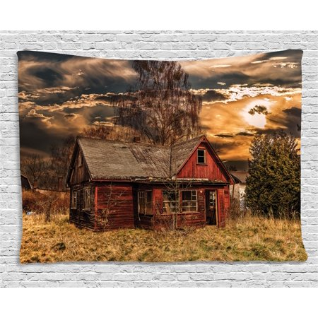 Scenery Decor Tapestry, Scary Horror Movie Themed Abandoned House in Pale Grass Garden Sunset Photo, Wall Hanging for Bedroom Living Room Dorm Decor, 60W X 40L Inches, Multicolor, by Ambesonne