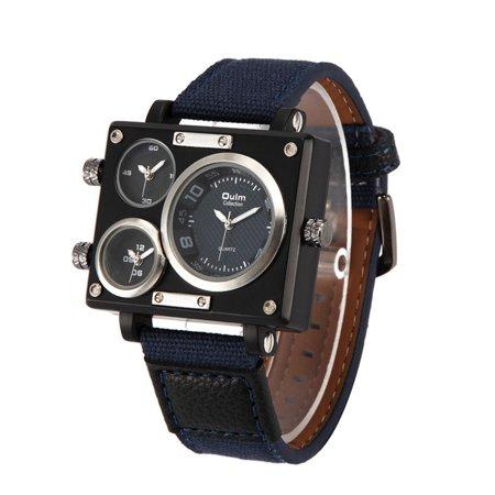 Montre-bracelet à quartz à bande de toile de luxe pour homme d'affaires OULM - image 3 de 7