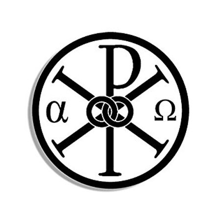 ROUND Alpha Omega Chi Rho Symbol Sticker Decal (greek letter jesus christ) Size: 4 x 4 inch