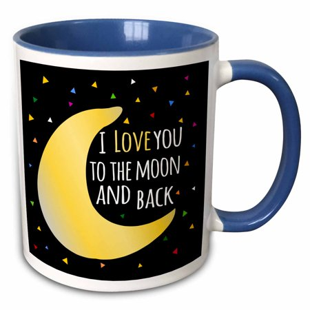 Star Sayings (3dRose I love you to the moon and back - cute saying with triangle stars - Two Tone Blue Mug,)
