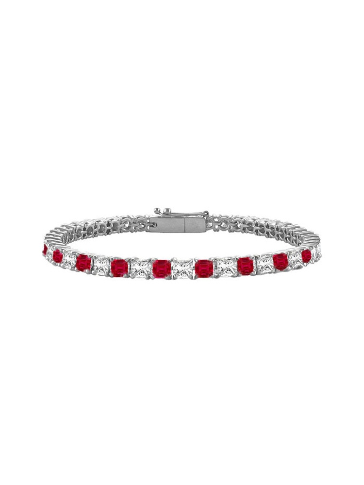 Created Ruby and Cubic Zirconia Tennis Bracelet with 3.00 CT TGW on 14K White Gold by Love Bright
