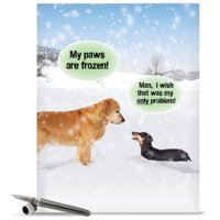 "j5953xsg jumbo funny merry christmas greeting card: 'my paws are frozen' with envelope (big size: 8.5"" x 11"")"