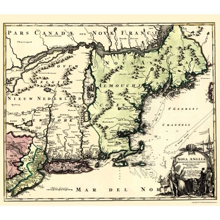 Old Revolutionary War Map - New England - North America 1780 - 23 x ...