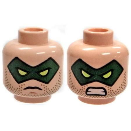 LEGO Minifigure Parts Light Flesh Male with Green Domino Mask Grim / Gritting Teeth Head [Dual-Sided (Zaneen Lighting Domino)
