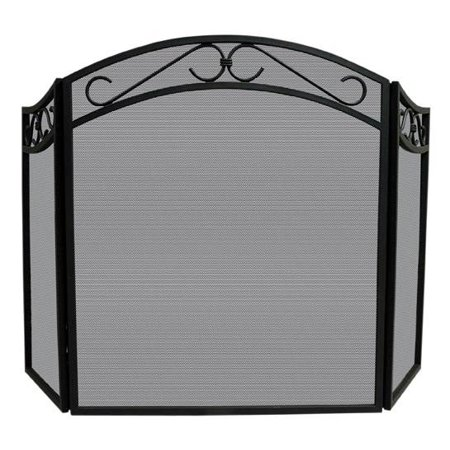 Wrought Iron Fireplace Screen w Scroll Design Accents ()