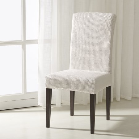 Subrtex Jacquard Stretch Dining Room Chair Slipcovers (2, White Jacquard) (Furniture Covers Chair)