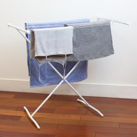 Folding 10 Rod Metal Clothes Drying Rack, White