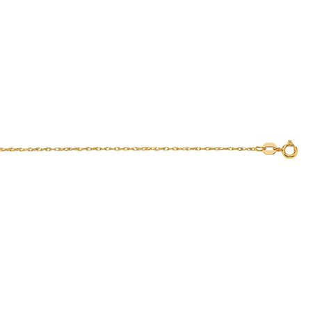 Gold 18 Rope Chain (10k 18 Inch Yellow Gold Shiny Sparkle-Cut Carded Rope Chain Wit Spring Ring Clasp Necklace )