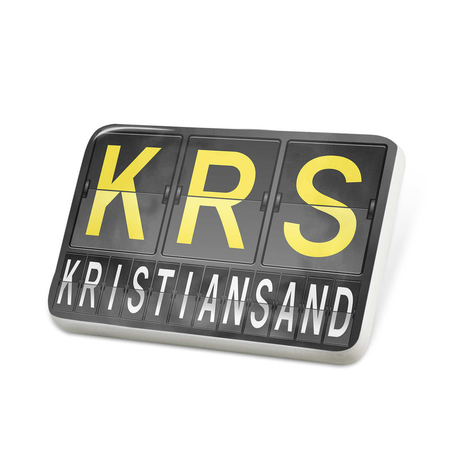 Porcelein Pin KRS Airport Code for Kristiansand Lapel Badge – NEONBLOND