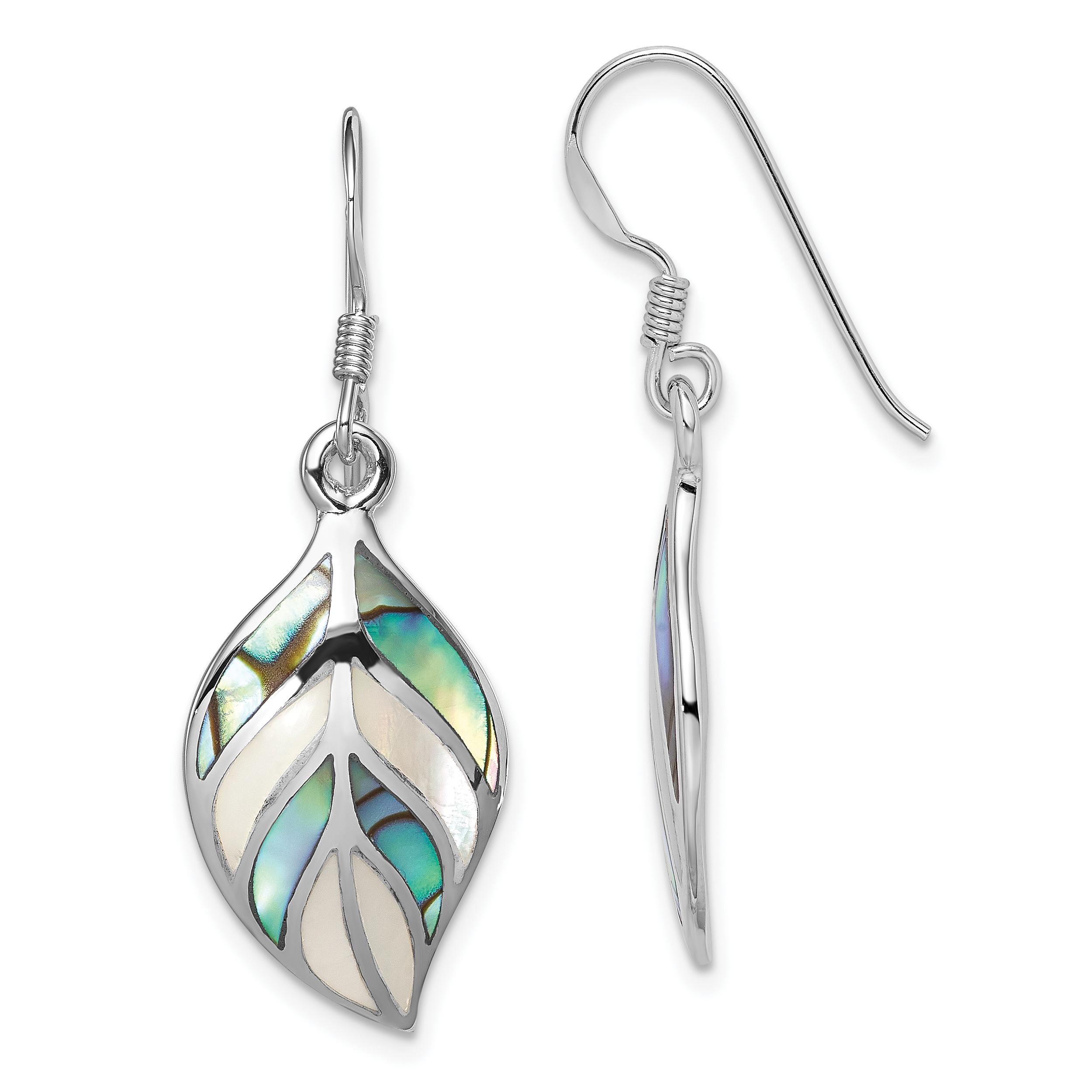 925 Sterling Silver Leaf Mop Abalone Drop Dangle Chandelier Earrings Gifts For Women For Her