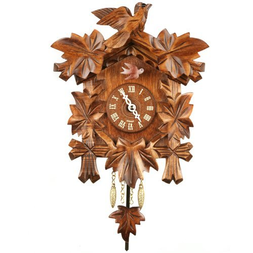 Carved Bird and Leaf Cuckoo Clock