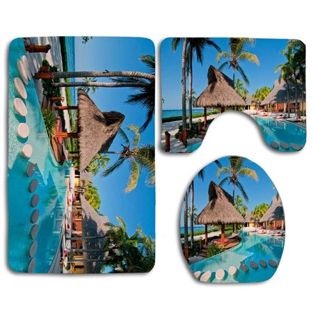 EREHome Gourmet Dream Tropical Beach 3 Piece Bathroom Rugs Set Bath Rug Contour Mat and Toilet Lid Cover - image 2 of 2