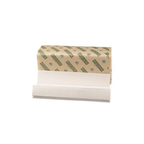 Green Folded Towels, C-Fold, Natural White, 10 1/8W x 13L, 200/Pack, 12/Carton