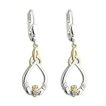 Solvar Silver 10K Gold & Dia Claddagh Earrings