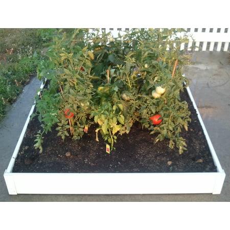 Handy Bed 48-inch x 48-inch x 6-inch White, Vinyl, Stackable Raised Garden Bed ()