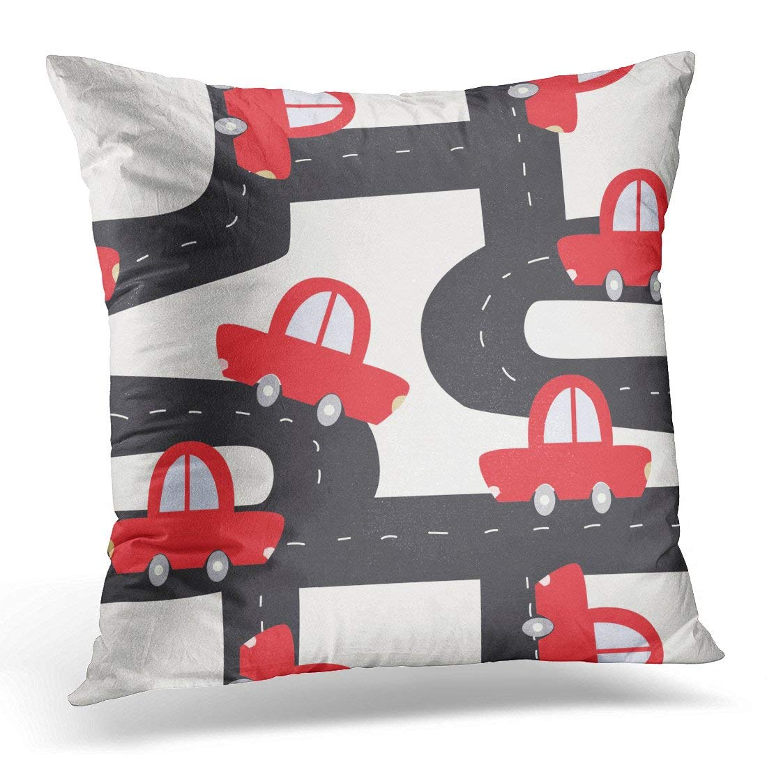 CMFUN Adventure Funny Red Car on The Road Kids Asphalt Pillow Case Pillow Cover 18x18 inch
