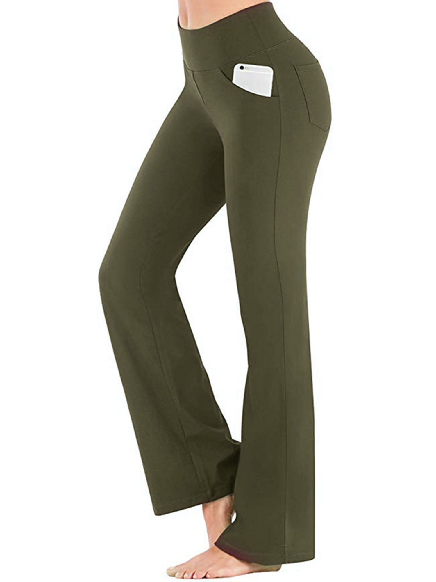 High Waist Bootcut Yoga Capris Crop Pants Pockets Tummy Control Workout Running Casual 3//4 Bootleg Straight Flare Trousers Jogging Yoga Trousers Fitnes Gym Sports Tights Leggings Womens Yoga Trousers