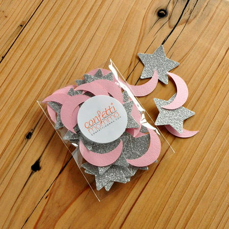 Twinkle Twinkle Little Star Party Decoration. Pink and Silver Decor. Moon and Stars Confetti 50CT Pack. (Silver Stars Decorations)