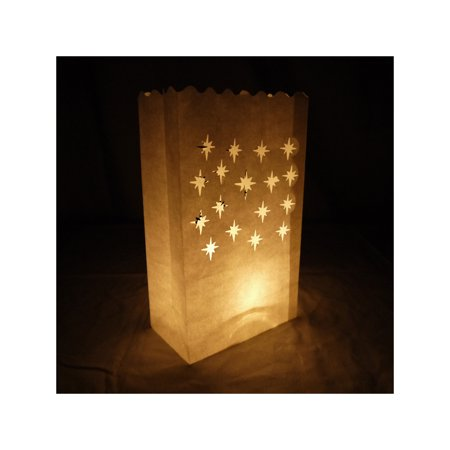 Quasimoon Small Starburst Paper Luminaries / Luminary Lantern Bags Path Lighting (10 PACK) by - Paper Luminaries