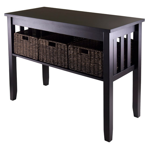 Morris Console Table with 3 Baskets, Espresso