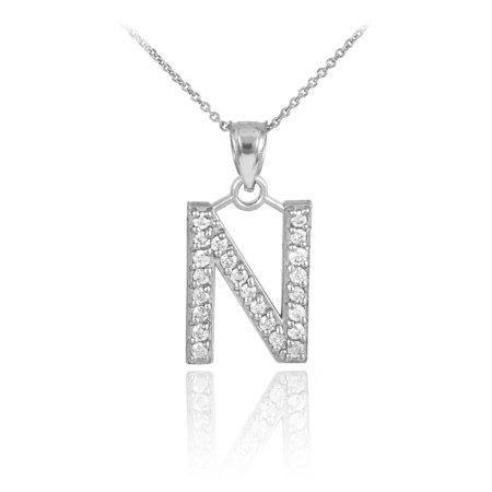 White gold letter n initial diamond monogram pendant white gold letter n initial diamond monogram pendant mozeypictures Choice Image
