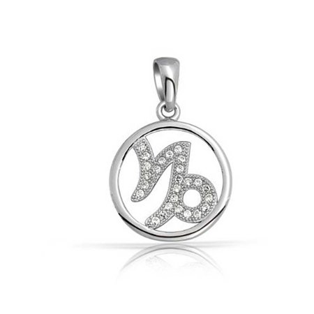 925 Silver Micro Pave Clear CZ Capricorn Zodiac (Capricorn Zodiac Charm Pendant)