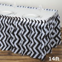 BalsaCircle 14 feet x 29-Inch Plastic Chevron Banquet Table Skirt - Wedding Party Trade Show Booth Events Decorations