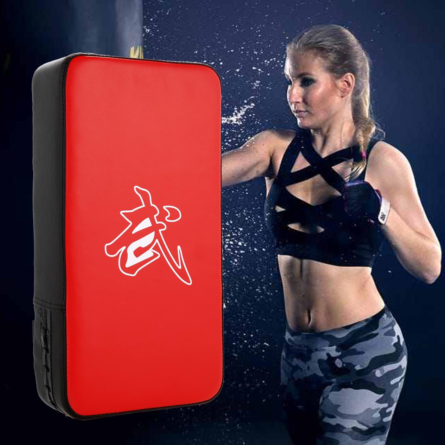 Durable Foot Target Boxing Kick Punching Pad Bag Training Shield Thai Taekwondo Gym ,PU &Foam Boxing Pads ,Black&Red WSY