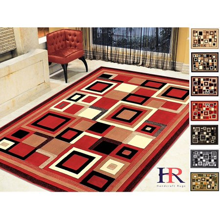 Handcraft Rugs Modern Contemporary Living Room Abstract Carpet With Geometric Pattern Red Black Ivory Beige Multi 8x10 Feet